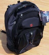 """New Gray Backpack Swiss Army 17"""" Laptop Computer Back Pack Black Grey Swissgear"""