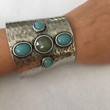 Designer CN Vintage Metal Hammered Gemstone Bracelet, Wide Gladiator Cuff
