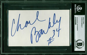Suns Charles Barkley 34 Authentic Signed 3x5 Index Card Autographed BAS Slabbed