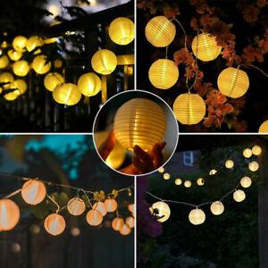 Lichterkette Solar Außen 10/20/30LED Lichter Lampion Beleuchtung Garten Party