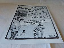 MALCOLM MC LAREN - Publicité de magazine / Advert !!! DUCK ROCK !!!
