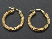 Italian 14k Solid Yellow Gold  Diamond-Cut Hoop Earrings. 20 x 3MM 1.3GR (#AS55