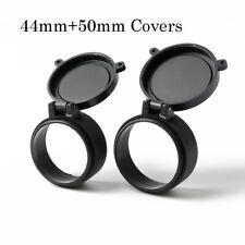44mm+50mm Scope Cover Protector Objective Eye Flip Up Black Cap Open Outdoor