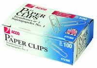 ACCO Premium Paper Clips Smooth #1 Silver 100/Box 10 Boxes/Pack 72360