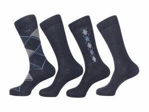 $55 Calvin Klein Men's Combed Cotton Navy Blue Dress Socks 4-Pack Size 7-12