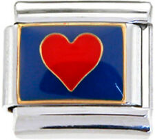 LOVE HEART RED ON BLUE Enamel Italian 9mm Charm LV078 Fits Nomination Classic