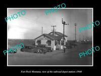 OLD 6 X 4 HISTORIC PHOTO OF FORT PECK MONTANA THE RAILROAD DEPOT STATION c1940