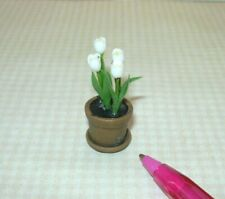 Miniature WHITE Tulips Potted in Aged Terra Cotta Pot w/Dish: DOLLHOUSE 1:12