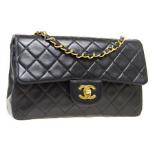 CHANEL Quilted CC Double Flap Chain Shoulder Bag 1793676 Black Leather A52956