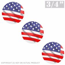 """3 Pack Gel Top Domed Glossy 3/4"""" 3M Premium Decal Stickers AMERICAN FLAG USA"""