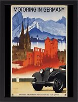 MOTORING IN GERMANY TRAVEL VINTAGE REPRO A3 FRAMED PHOTOGRAPHIC PRINT POSTER