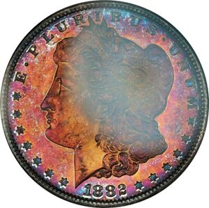1882-S Choice BU PCGS MS63 CAC Morgan Dollar- Toned, Semi-PL, Spectacular Color!