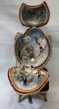 "7"" Velvet and Beaded Egg Shaped Music Box Winter Wonderland Working"