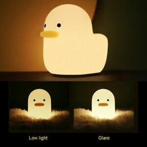 USB LED Creative Duck Night Light Silicone Children Bedside Table Lamp Bedroom