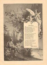 Cupid, Angel, Poem, Serenade, Moonlight, Vintage 1893 German Antique Art Print