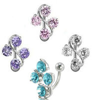 Crystal NAVAL REVERSE VINE GEM BELLY BAR 316L  Surgical Steel Rhinestone