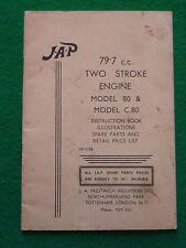 JAP 79.7 cc TWO STROKE ENGINE MODEL 80 C80 INSTRUCTION BOOK (INDUSTRIAL UNIT)
