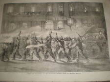 Torchlight procession of the New York Firemen 1858 old prints ref J