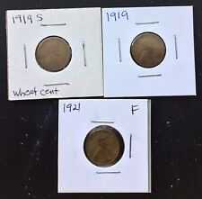 Lot of 3: 1919, 1919-S & 1921  1c Lincoln wheat cents Pennies