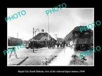 OLD LARGE HISTORIC PHOTO RAPID CITY SOUTH DAKOTA RAILROAD DEPOT STATION c1940 1