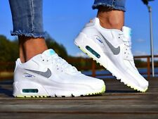 NIKE AIR MAX 90 WOMENS GIRLS TRAINERS WHITE LEATHER CZ5868-100