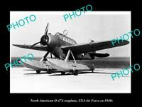 OLD HISTORIC AVIATION PHOTO, NORTH AMERICAN 0-47A SEAPLANE AIRCRAFT, USAAF c1940