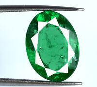 Pierre précieuse ovale émeraude verte de Zambie 6-8 ct certifiée naturelle