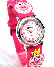 Small Girls Childs Pig Time Teacher Dial Watch with Hot Pink 3D Strap by Ravel