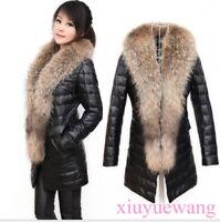 Klassisch Damen Nerz Pelzmantel Lang Pelzkragen Verdicken lederjacke warm coat