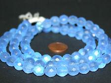 Strang 64 cm runde Kugeln opal blaue facettierte böhmische Glasschliffperlen 8mm