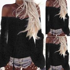 Women Summer Beach Blouse Slash Neck Long Flare Sleeve Loose Blouse Tops T-Shirt