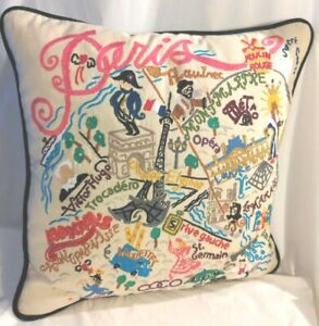 Hand-Embroidered Paris France Pillow CatStudio Cat Studio 2016 Geography 20 x 20