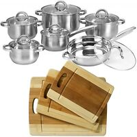 12 Piece Cookware Set Stainless Steel Pot Pan + 3pc Organic Bamboo Cutting Board