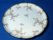 Haviland Limoges China Schleiger 29K pattern large chop plate double gold trim