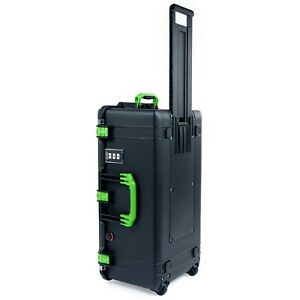 Black & Lime Green Pelican 1626 air case without foam, empty, and wheels.