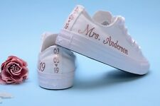 Personalised Rose Gold Foil Wedding Converse Trainers For Bride, Sneakers Bridal