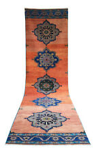 3x11 ft Muted Color Hand Knotted Turkish Oushak Runner Rug Distressed Faded Rug