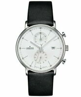 JUNGHANS FORM C 041 / 4770.00 Chronoscope Men's Leather Strap Black Silver Band