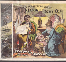 Beacon Light Oil 1800's Boston Lighthouse Logo Ship Lamp Advertising Trade Card