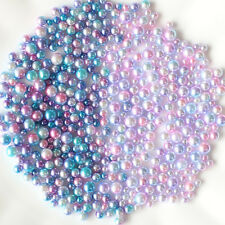 3-6mm Mix Size Acrylic Transition Color Round Pearl Loose Mermaid Beads Jewelry