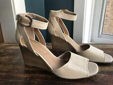 NEW~Franco Sarto Wedge Heels~9.5~Beige Canvas~Ankle Strap