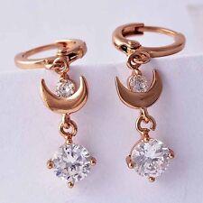 Fashion lucky Womens Rose Gold Filled Clear CZ Moon Dangle Drop Earrings Girls
