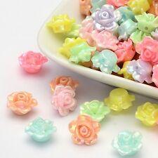 30 Stück  Blüte Kelche Perlen Basteln Acrylperlen Blume bunt transparent 1448