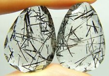 Q9 Tourmalinated Quartz,40.75ct 22x20x5mm Brazil,black needles,for,earrings,pair