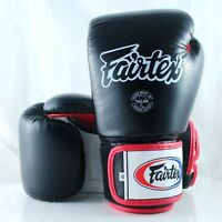 FAIRTEX MUAY THAI KICK BOXING GLOVES BLACK WHITE RED BGV1 SPARRING MMA