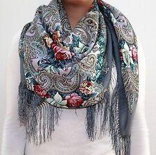Shawl 100% Woolen,silk knitted fringe 1437-1 , Pavlovo-Posad Russian