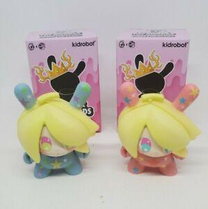"Kidrobot 3"" Dunny Designer Toy Awards DTA Banana Mango Blue & Pink So Youn Lee"
