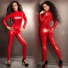 Sexy Catwoman False Leather Zipper Wetlook Jumpsuit Catsuit Red Club Fancy Dress