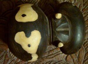 One of its kind ! Amazing ebony wood carving hippopotamus untreated