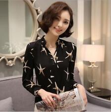 2016 New Starfish Print Long Sleeve Blouse Shirt Ladies Blouses Womens Tops